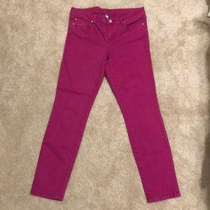 Fushia denim skinny jeans